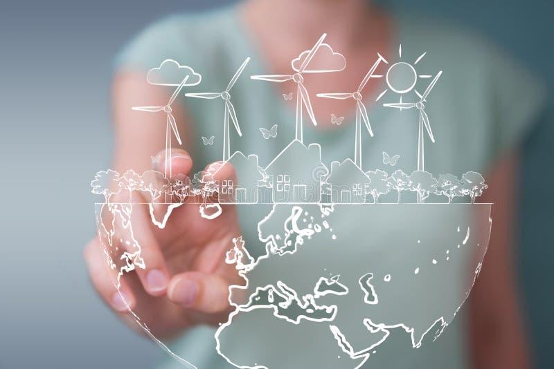Επιχειρηματίας που αγγίζει και που κρατά το σκίτσο ανανεώσιμης ενέργειας απεικόνιση αποθεμάτων