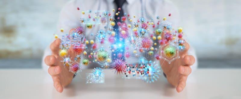 Επιχειρηματίας που αναλύει τρισδιάστατη απόδοση κινηματογραφήσεων σε πρώτο πλάνο βακτηριδίων τη μικροσκοπική διανυσματική απεικόνιση
