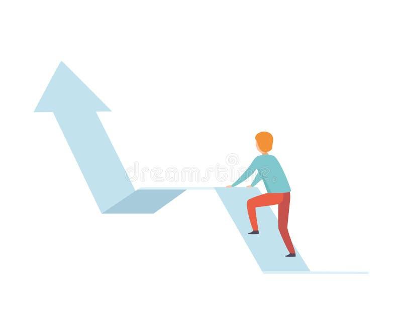 Επιχειρηματίας που αναρριχείται επάνω στη γραφική παράσταση βελών αύξησης, την επιχείρηση και τη διανυσματική απεικόνιση ανάπτυξη απεικόνιση αποθεμάτων