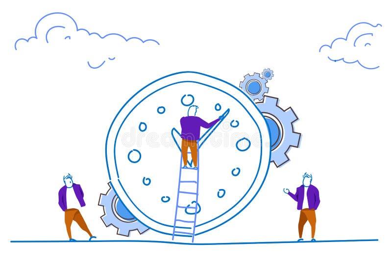Επιχειρηματίας που αναρριχείται σκαλών ρολογιών χρονικής διαχείρισης έννοιας ανθρώπων οργάνωσης οριζόντιο σκίτσο διαδικασίας χρον απεικόνιση αποθεμάτων