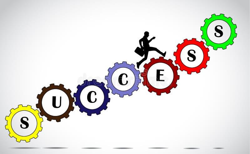 Επιχειρηματίας που αναρριχείται στην έννοια εργαλείων επιτυχίας απεικόνιση αποθεμάτων