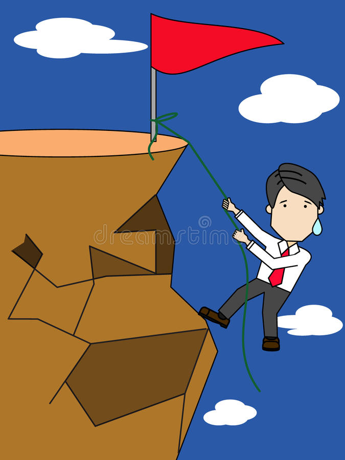 Επιχειρηματίας που αναρριχείται στην κορυφή ενός υψηλού διανυσματική απεικόνιση