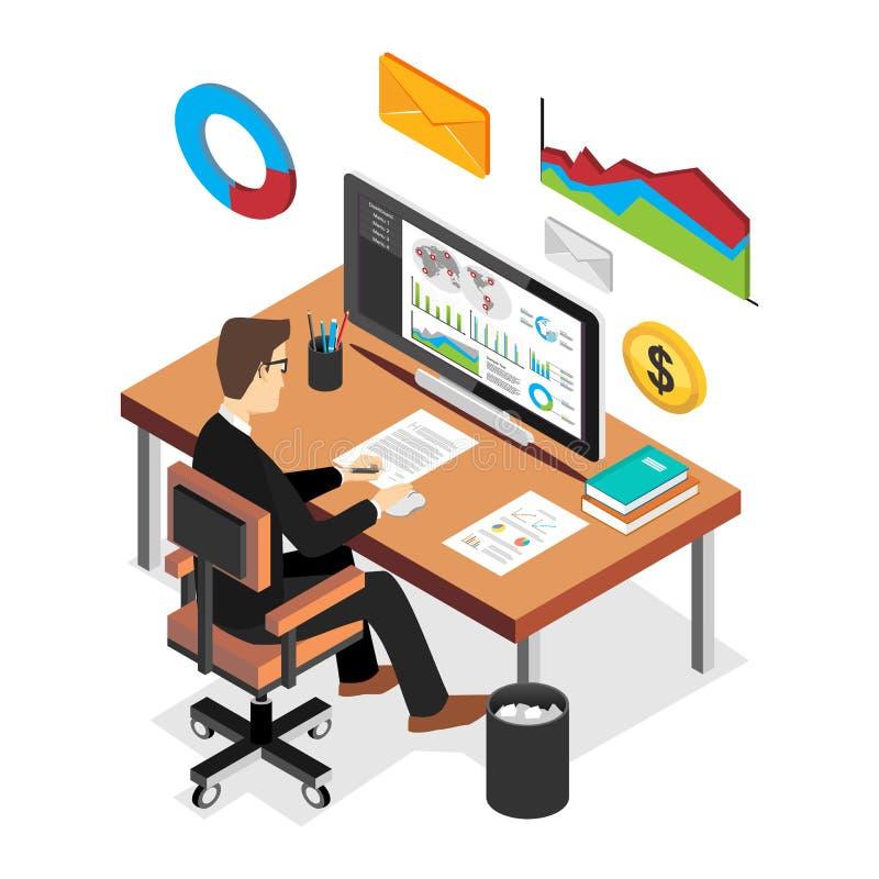 Επιχειρηματίας που αναλύει το οικονομικό ταμπλό στατιστικών Επιχειρησιακή ευφυής έννοια Επίπεδη τρισδιάστατη isometric έννοια επι ελεύθερη απεικόνιση δικαιώματος