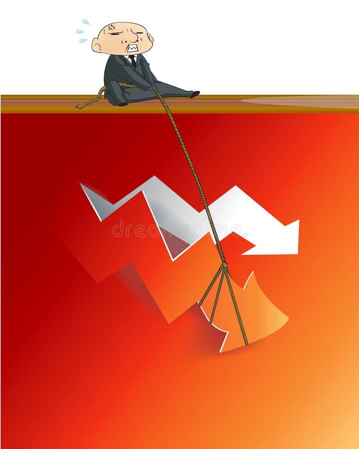 Επιχειρηματίας που ανυψώνει επάνω το κόκκινο βέλος από κρίσιμο απεικόνιση αποθεμάτων