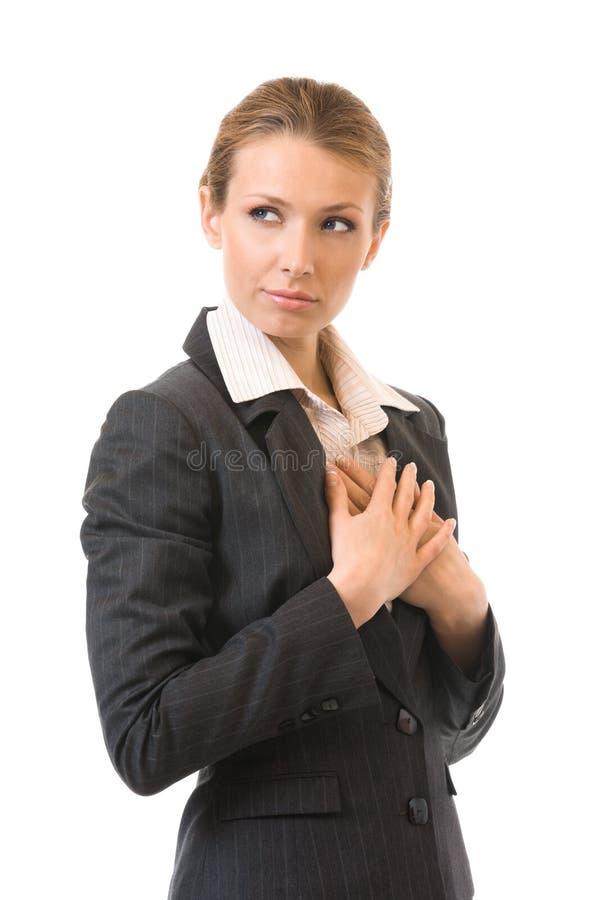 Επιχειρηματίας, που απομονώνεται λυπημένη στο λευκό στοκ εικόνα
