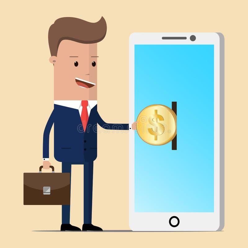 Επιχειρηματίας που βάζει το νόμισμα στο smartphone κινητό τηλέφωνο πληρωμής χρημάτων έννοιας επίσης corel σύρετε το διάνυσμα απει ελεύθερη απεικόνιση δικαιώματος