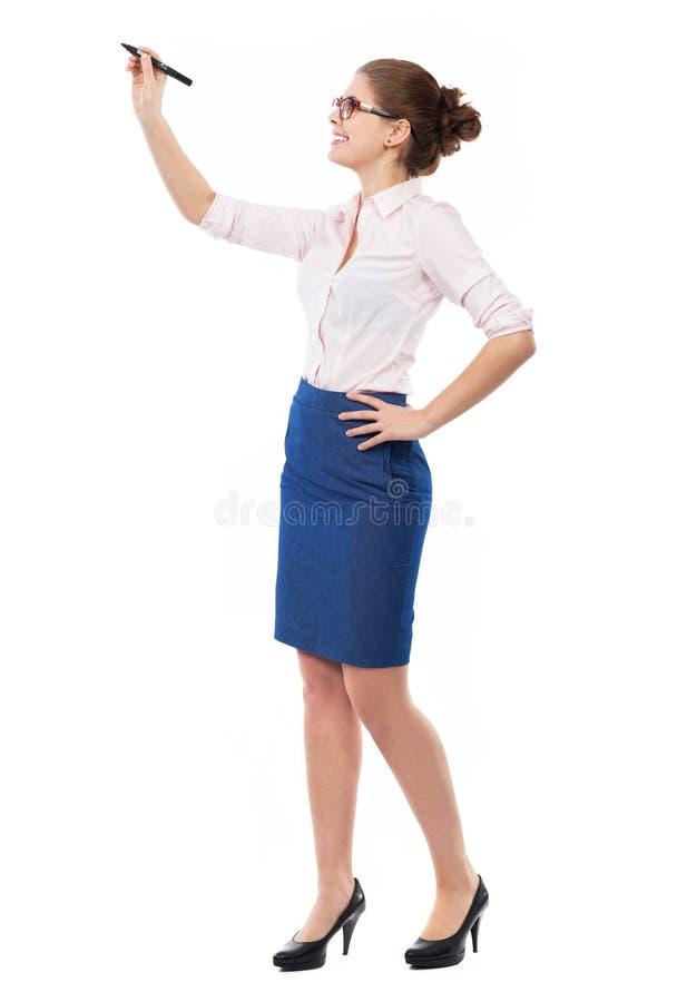 Επιχειρηματίας που γράφει με μια μάνδρα στοκ φωτογραφία