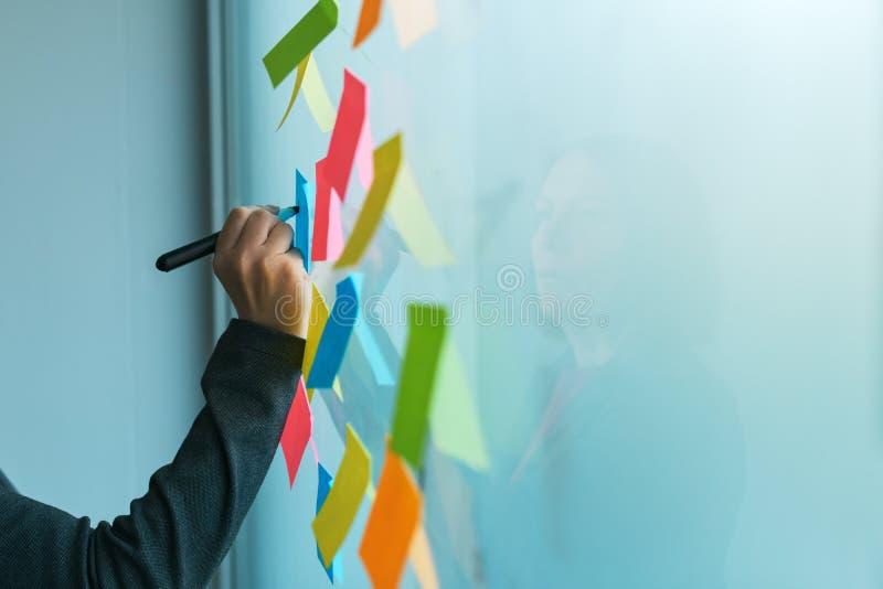Επιχειρηματίας που γράφει σε ζωηρόχρωμο κολλώδες χαρτί σημειώσεων στοκ εικόνα