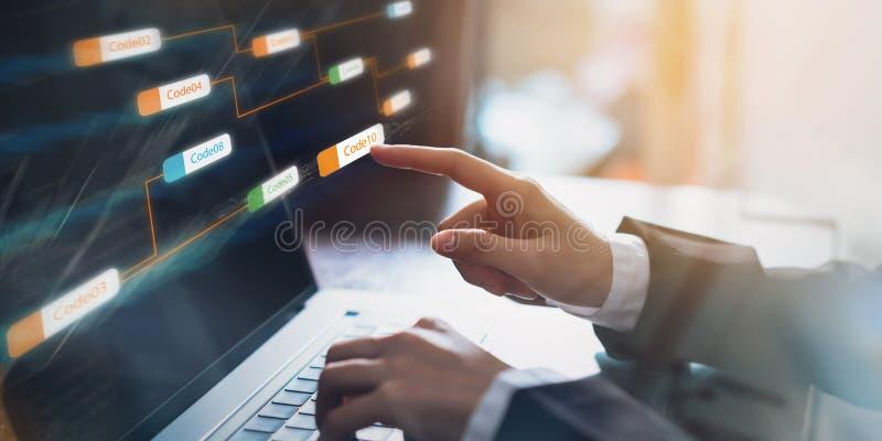 Επιχειρηματίας που δείχνει την ετικέτα κώδικα εικονιδίων συνεπή και ανάπτυξης εφαρμογών οθόνη στο φορητό προσωπικό υπολογιστή στοκ εικόνες με δικαίωμα ελεύθερης χρήσης