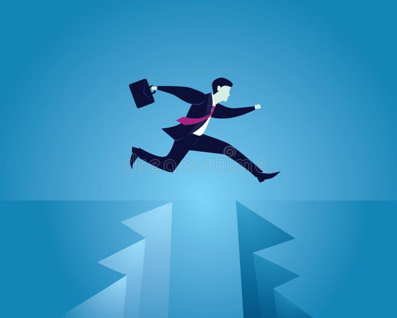 Επιχειρηματίας που διατρέχει τον κίνδυνο που πηδά πέρα από το χάσμα, διανυσματική απεικόνιση διανυσματική απεικόνιση