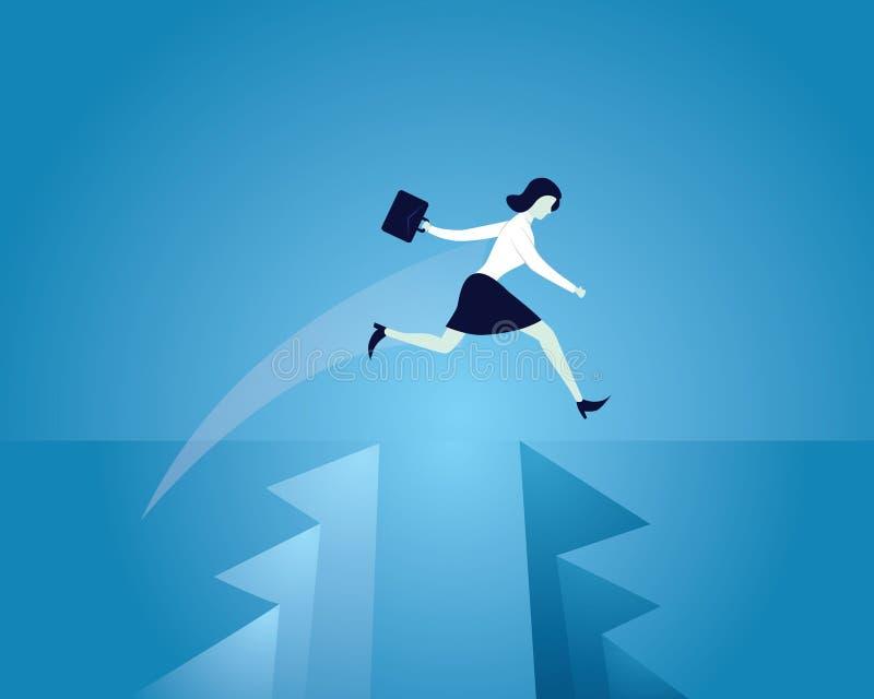 Επιχειρηματίας που διατρέχει τον κίνδυνο που πηδά πέρα από το χάσμα, διανυσματική απεικόνιση ελεύθερη απεικόνιση δικαιώματος