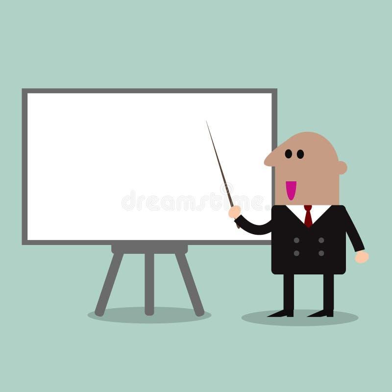 Επιχειρηματίας που δείχνει ένα Whiteboard απεικόνιση αποθεμάτων