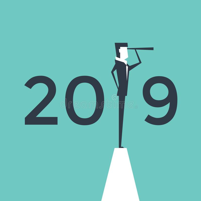 Επιχειρηματίας που εξετάζει επιτυχία τη στάση επάνω από τους αριθμούς 2019 απεικόνιση αποθεμάτων