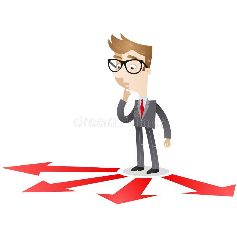 Επιχειρηματίας που εξετάζει τα βέλη στο πάτωμα διανυσματική απεικόνιση