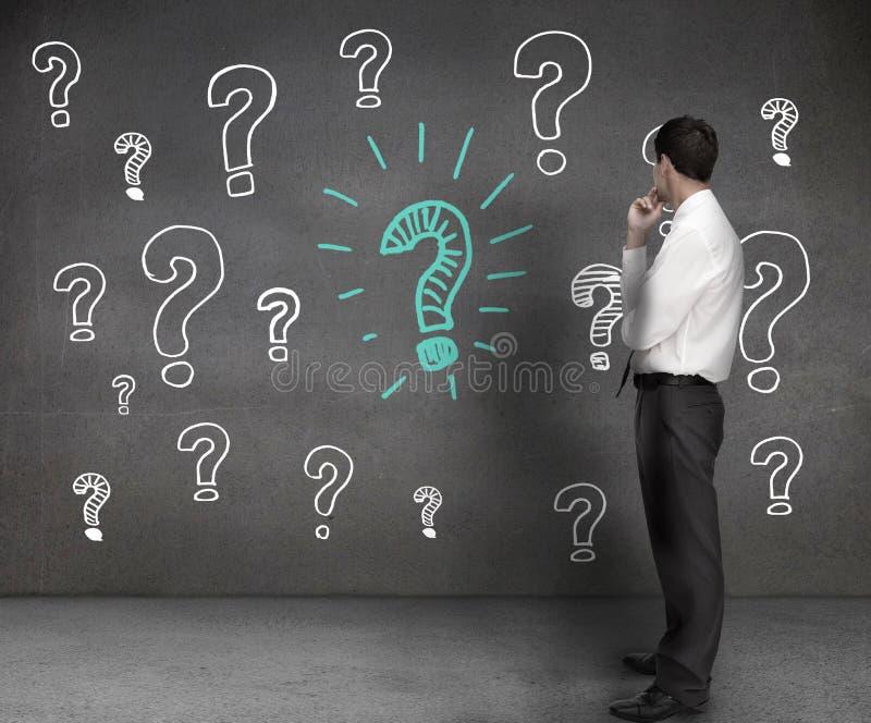 Επιχειρηματίας που εξετάζει τα σχέδια των ερωτηματικών στοκ φωτογραφίες
