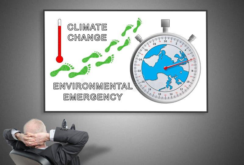 Επιχειρηματίας που εξετάζει τη σφαιρική έννοια θέρμανσης ελεύθερη απεικόνιση δικαιώματος