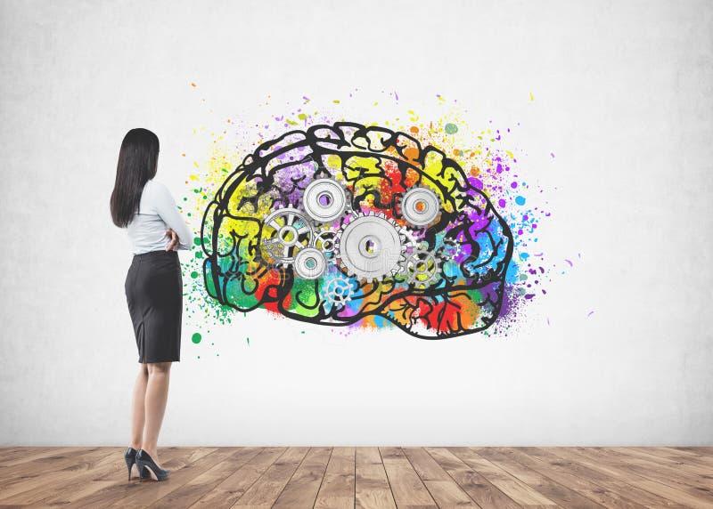 Επιχειρηματίας που εξετάζει τον τοίχο, καταιγισμός ιδεών στοκ εικόνες