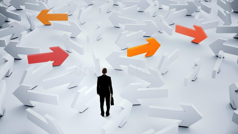 Επιχειρηματίας που επιλέγει την επιχειρησιακή κατεύθυνσή του στοκ εικόνες