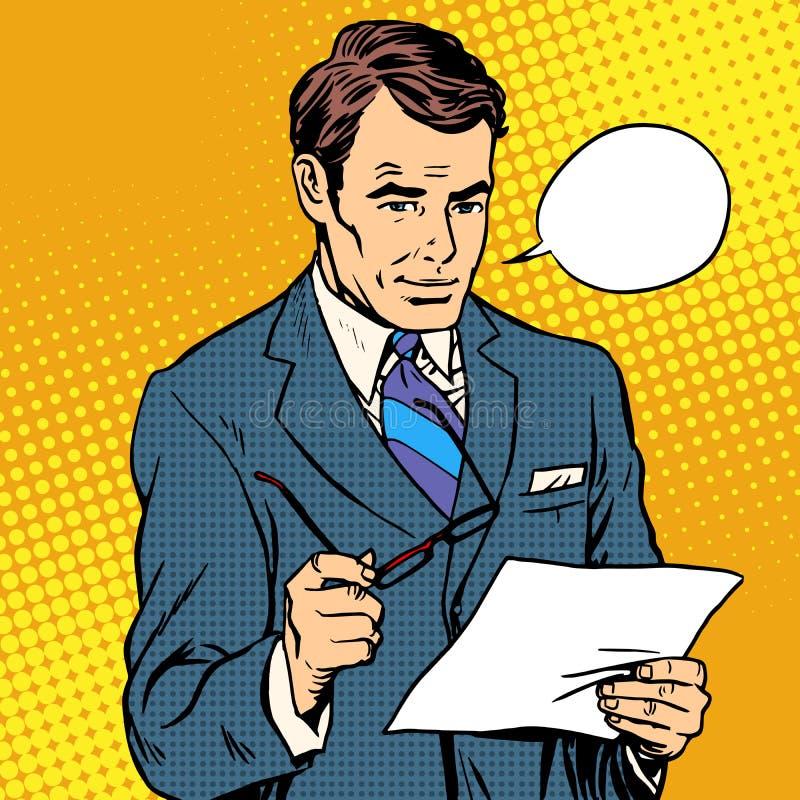 Επιχειρηματίας που διαβάζει ένα έγγραφο απεικόνιση αποθεμάτων
