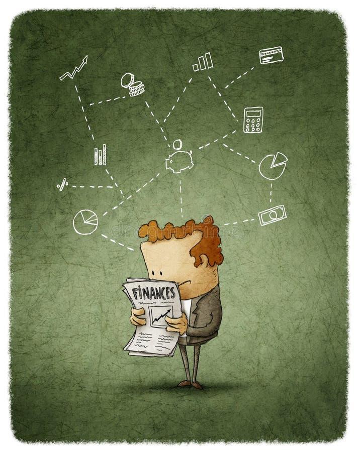 Επιχειρηματίας που διαβάζεται διανυσματική απεικόνιση