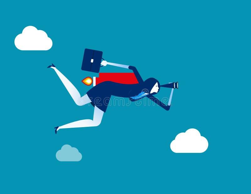 Επιχειρηματίας που κοιτάζει και που πετά στην επιτυχία r Επίπεδος χαρακτήρας, σχέδιο ύφους κινούμενων σχεδίων απεικόνιση αποθεμάτων