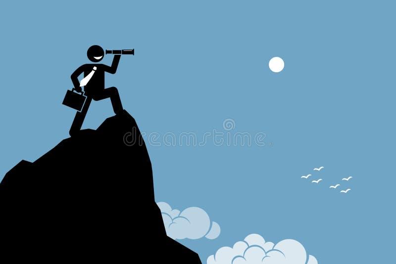 Επιχειρηματίας που κοιτάζει μέσω ενός τηλεσκοπίου σε ένα έδαφος υψηλών βουνών απεικόνιση αποθεμάτων