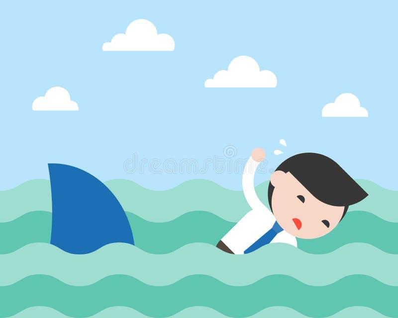 Επιχειρηματίας που κολυμπά για να δραπετεύσει τον καρχαρία, επίπεδο σχέδιο απεικόνιση αποθεμάτων