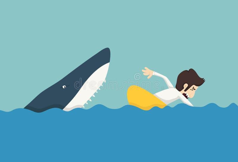 Επιχειρηματίας που κολυμπά για να δραπετεύσει τους καρχαρίες διανυσματική απεικόνιση