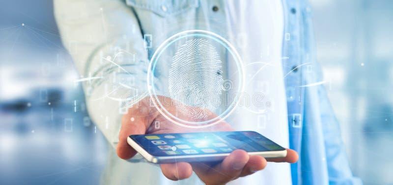 Επιχειρηματίας που κρατά έναν ψηφιακούς προσδιορισμό και ένα δοχείο δακτυλικών αποτυπωμάτων στοκ εικόνα με δικαίωμα ελεύθερης χρήσης