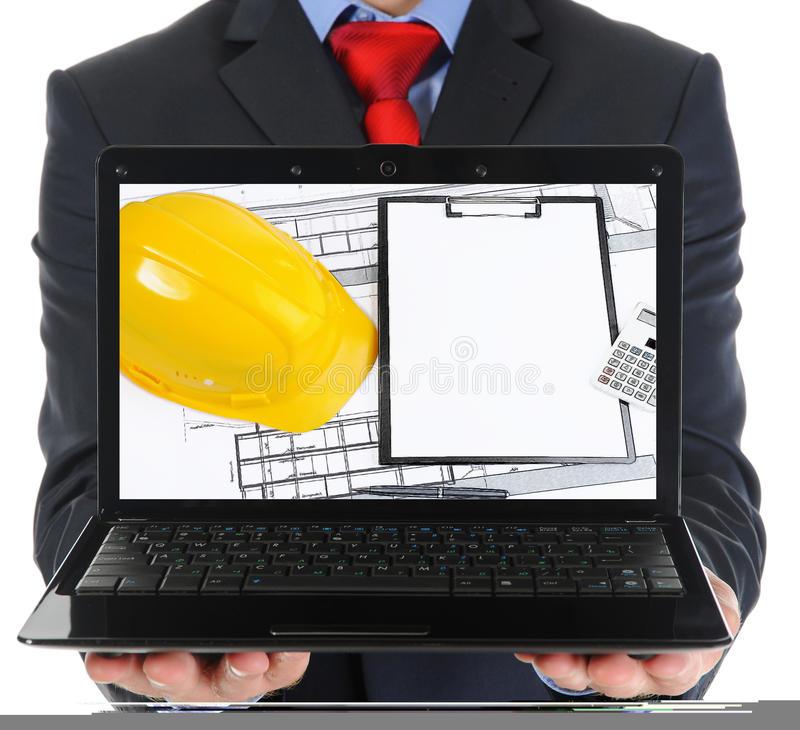 Επιχειρηματίας που κρατά ένα ανοικτό lap-top στοκ φωτογραφίες με δικαίωμα ελεύθερης χρήσης