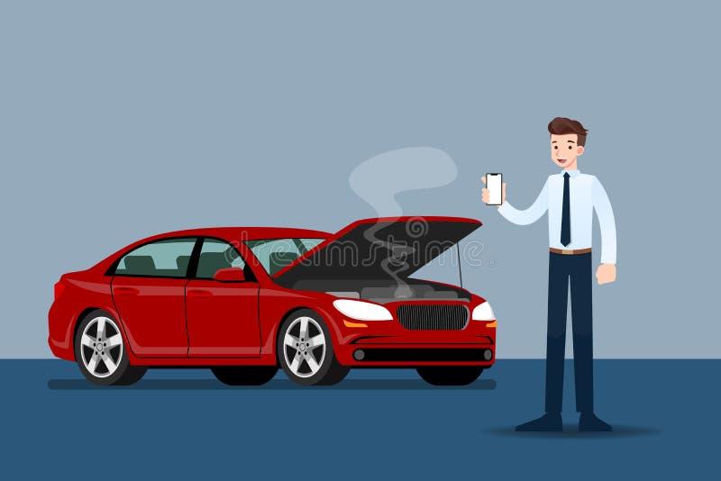 Επιχειρηματίας που κρατά ένα κινητές τηλέφωνο και μια κλήση για την ασφάλεια όταν έσπασαν το αυτοκίνητό του απεικόνιση αποθεμάτων