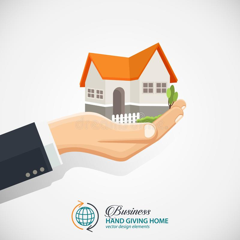 Επιχειρηματίας που κρατά ένα σπίτι Επιχείρηση ακίνητων περιουσιών διανυσματική απεικόνιση
