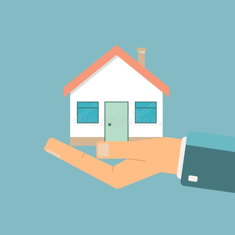 Επιχειρηματίας που κρατά ένα σπίτι Προσφορά ακίνητων περιουσιών Διάνυσμα illustrat διανυσματική απεικόνιση