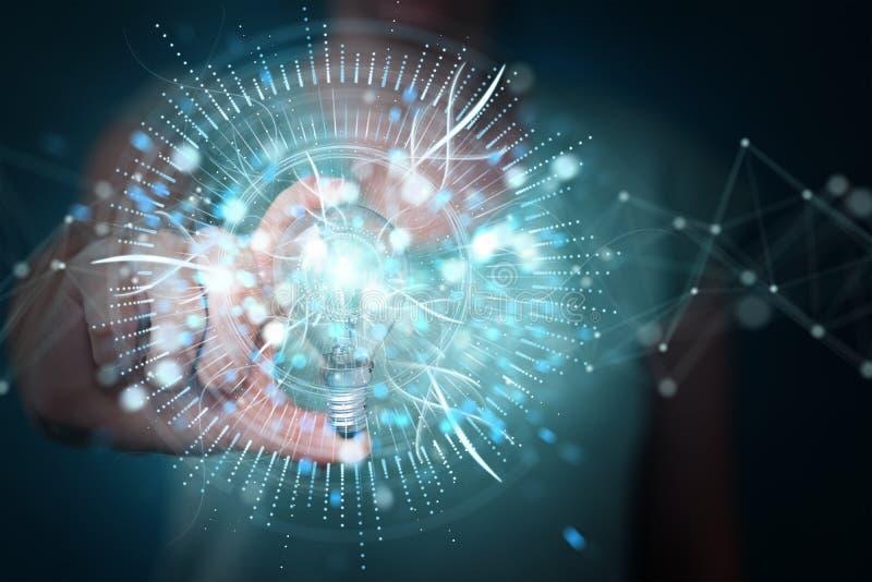 Επιχειρηματίας που κρατά ένα lighbulb με τις συνδέσεις σε την τρισδιάστατη απόδοση χεριών διανυσματική απεικόνιση