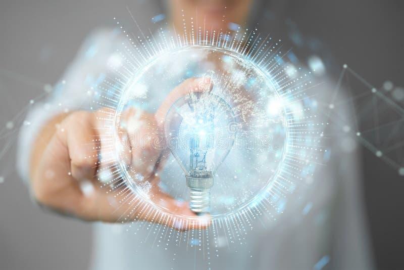 Επιχειρηματίας που κρατά ένα lighbulb με τις συνδέσεις σε την χέρι τρισδιάστατο διανυσματική απεικόνιση