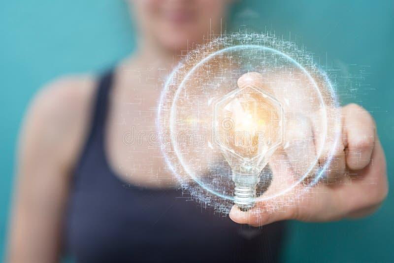 Επιχειρηματίας που κρατά ένα lighbulb με τις συνδέσεις σε την χέρι τρισδιάστατο απεικόνιση αποθεμάτων