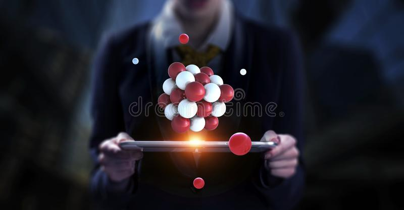 Επιχειρηματίας που κρατά ένα tabalet με μια δέσμη των σφαιρών που ανωτέρω r στοκ εικόνες