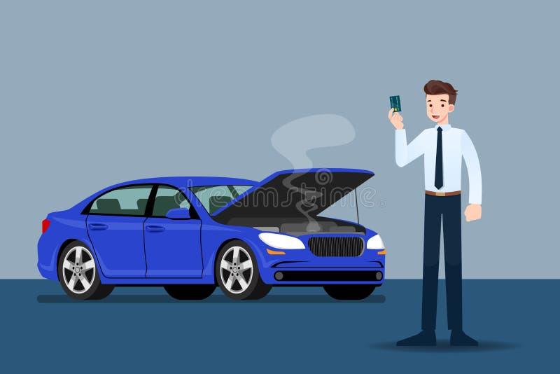 Επιχειρηματίας που κρατά μια πιστωτική κάρτα και που περιμένει την ασφάλεια όταν έσπασαν το αυτοκίνητό του ελεύθερη απεικόνιση δικαιώματος