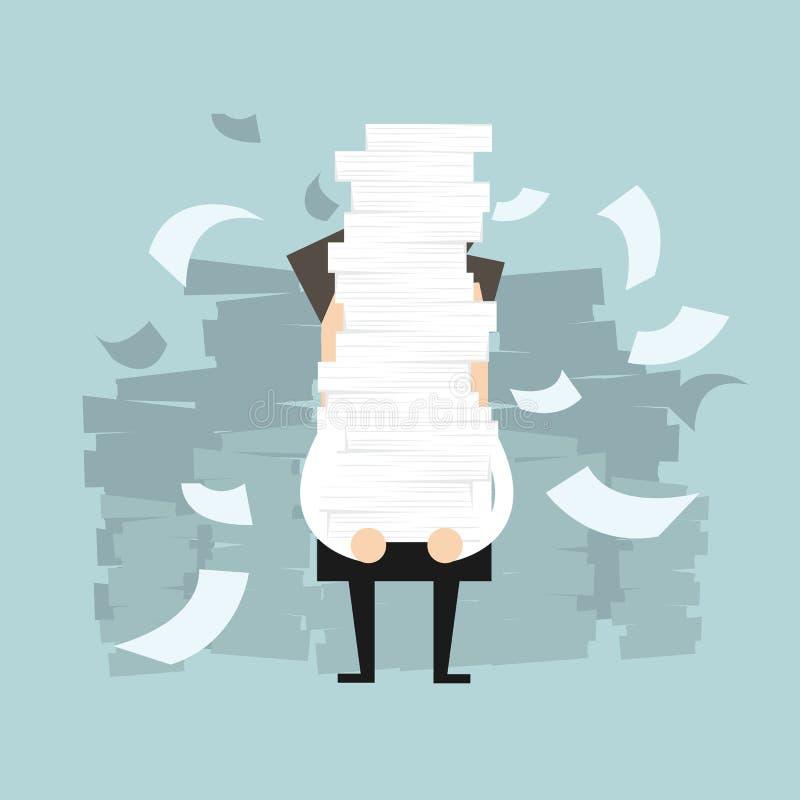 Επιχειρηματίας που κρατά πολλά έγγραφα στα χέρια του διανυσματική απεικόνιση