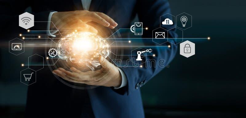 Επιχειρηματίας που κρατά τα αφηρημένα εργαλεία εγκεφάλου και εικονιδίων στη διεπαφή διανυσματική απεικόνιση