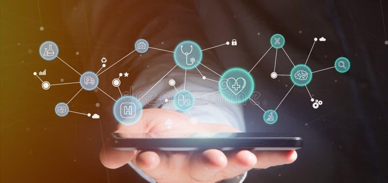 Επιχειρηματίας που κρατά την ιατρική τρισδιάστατη απόδοση εικονιδίων και σύνδεσης στοκ εικόνα