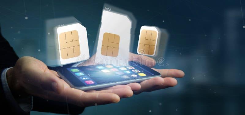 Επιχειρηματίας που κρατά το διαφορετικό μέγεθος μιας τρισδιάστατης απόδοσης καρτών smartphone sim στοκ φωτογραφία με δικαίωμα ελεύθερης χρήσης