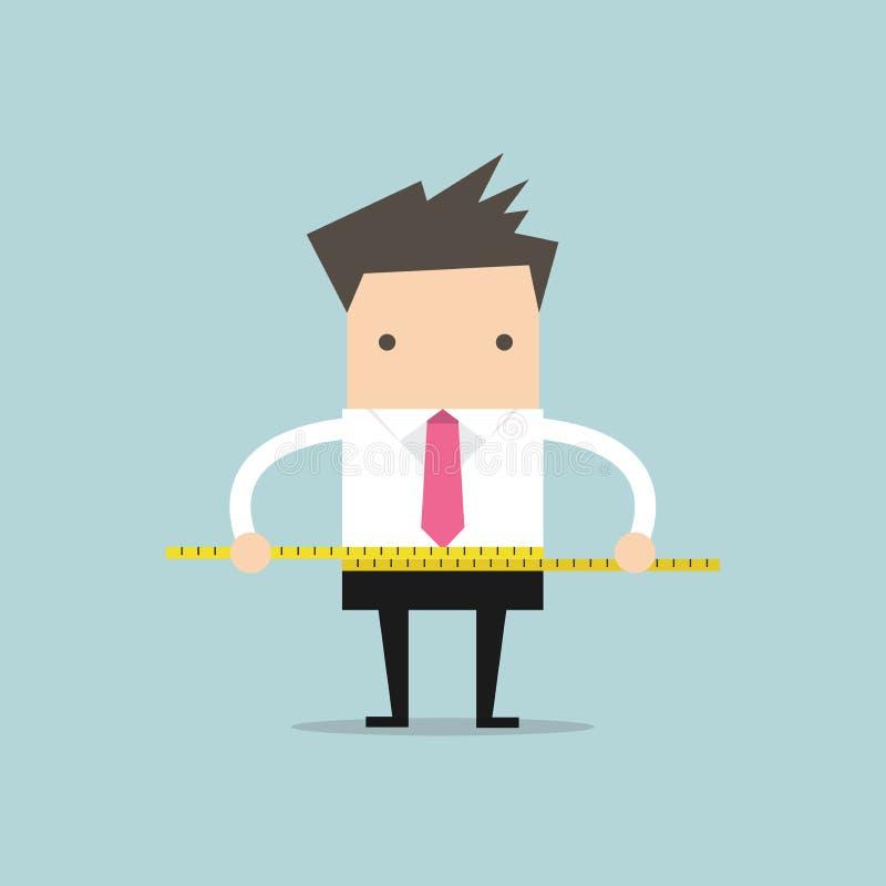 Επιχειρηματίας που μετρά τη μέση του με την ταινία μέτρου διανυσματική απεικόνιση
