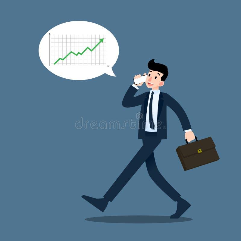 Επιχειρηματίας που μιλά στο κινητό τηλέφωνο για το κέρδος και που εμπορεύεται κατά τη διάρκεια του περπατήματος στην εργασία διανυσματική απεικόνιση