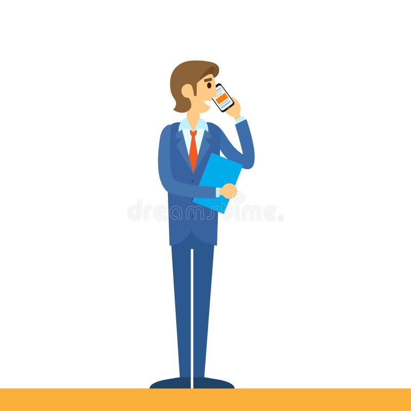 Επιχειρηματίας που μιλά στο κινητό τηλεφώνημα, χρησιμοποίηση ελεύθερη απεικόνιση δικαιώματος