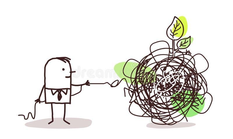 Επιχειρηματίας που ξεμπερδεύει έναν κόμβο με το πράσινο φύλλο απεικόνιση αποθεμάτων