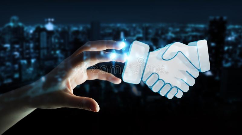 Επιχειρηματίας που ολοκληρώνει μια τρισδιάστατη απόδοση συνεργασίας απεικόνιση αποθεμάτων