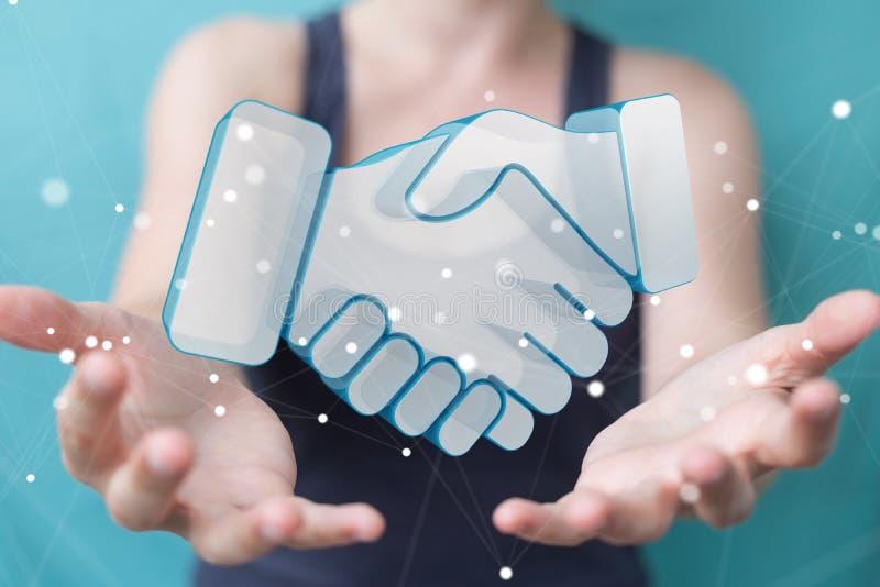 Επιχειρηματίας που ολοκληρώνει μια τρισδιάστατη απόδοση συνεργασίας ελεύθερη απεικόνιση δικαιώματος
