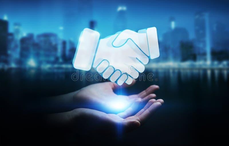 Επιχειρηματίας που ολοκληρώνει μια τρισδιάστατη απόδοση συνεργασίας διανυσματική απεικόνιση