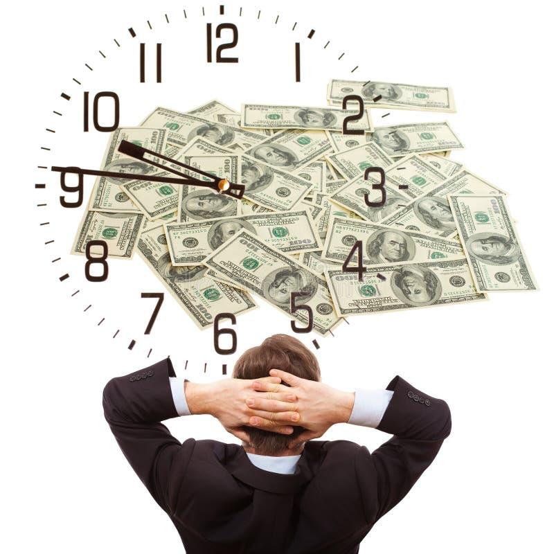 Επιχειρηματίας που ονειρεύεται για τα χρήματα στοκ εικόνες